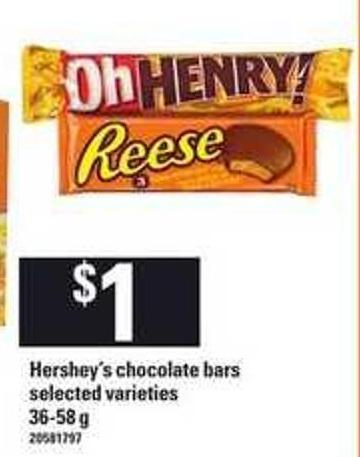 Hershey's Chocolate Bars - 36-58 g