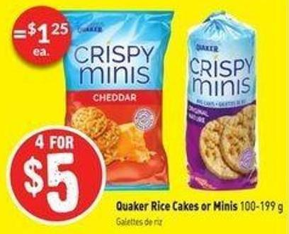 Quaker Rice Cakes or Minis 100-199 g