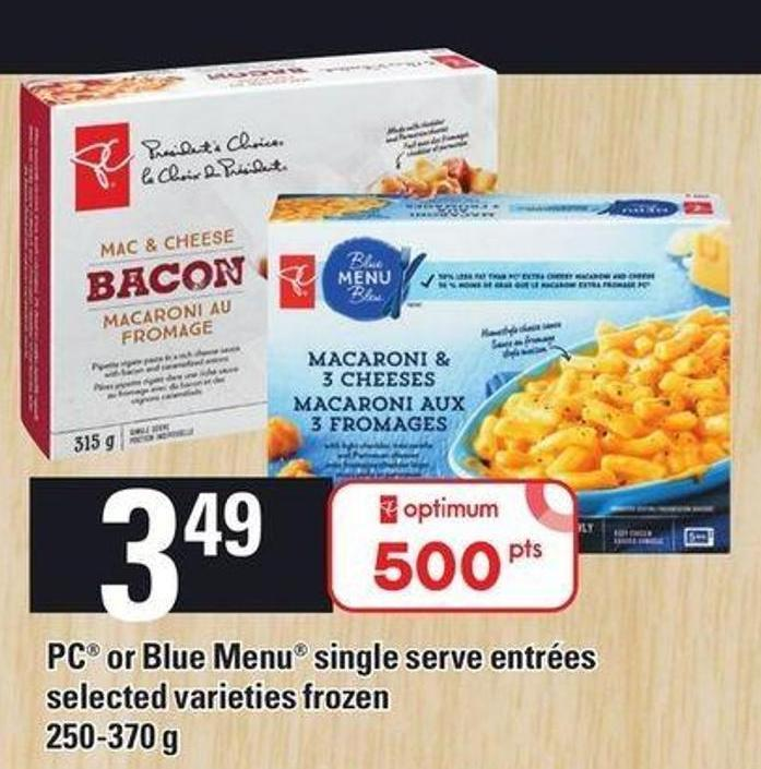 PC Or Blue Menu Single Serve Entrées - 250-370 G