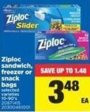 Ziploc Sandwich - Freezer Or Snack Bags - 10-90's