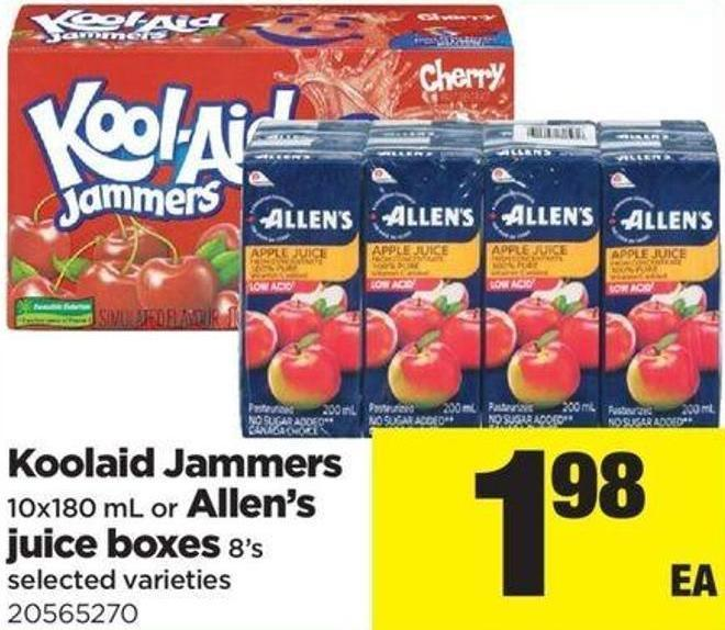Koolaid Jammers 10x180 Ml Or Allen's Juice Boxes 8's