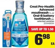 Crest Pro-health Advanced Mouthwash - 1 L Or Oral-b Battery Toothbrush Ea.