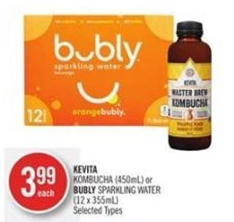 Kombucha (450ml) or Bubly Sparkling Water (12 X 355ml)