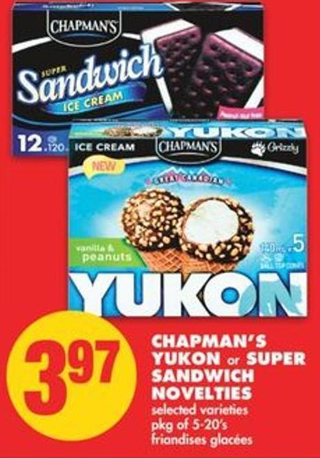 Chapman's Yukon Or Super Sandwich Novelties - Pkg Of 5-20's