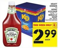 Kraft Dinner Or Heinz Ketchup Or Miracle Whip