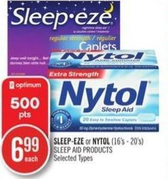 Sleep-eze or Nytol (16's-20's) Sleep Aid Products