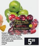 Farmer's Market Apples - Product Of Ontario - Canada No. 1 Grade - Or Granny Smith Apples - Extra Fancy Grade 4 Lb Bag