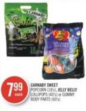 Carnaby Sweet Popcorn (18's) - Jelly Belly Lollipops (40's) or Gummy Body Parts (60's)