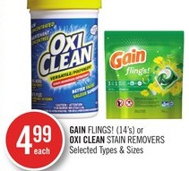 Gain Flings (14's) or Oxi Clean Stain Removers