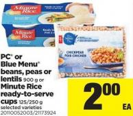 PC Or Blue Menu Beans - Peas Or Lentils 900 G Or Minute Rice Ready-to-serve Cups 125/250 G