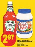 Heinz Ketchup - 750 Ml/1 L or Kraft Miracle Whip - 650/890 mL