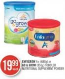 Enfagrow A+ (680g) or Go & Grow (850g) Toddler Nutritional Supplement Powder