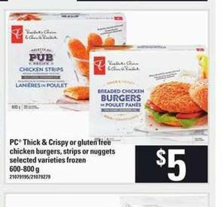 PC Thick & Crispy Or Gluten Free Chicken Burgers - Strips Or Nuggets - 600-800 g
