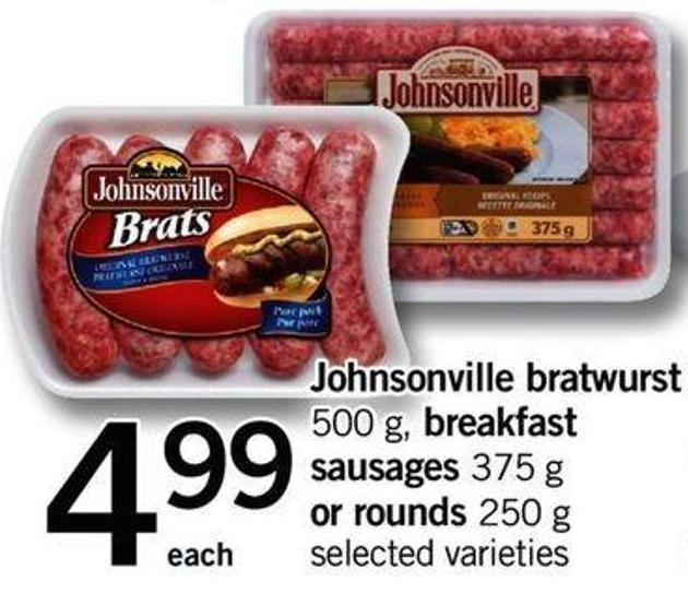 Johnsonville Bratwurst - 500 G - Breakfast Sausages - 375 G Or Rounds - 250 G