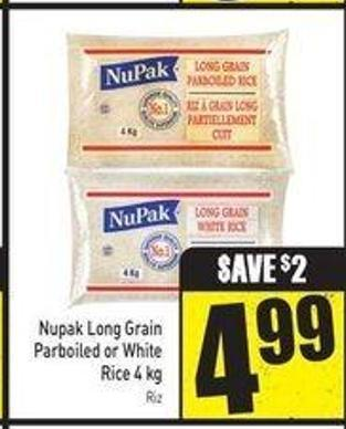 Nupak Long Grain Parboiled or White Rice 4 Kg
