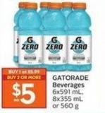 Gatorade Beverages 6x591 mL - 8x355 mL or 560 g
