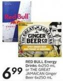Red Bull Energy Drinks 4x250 mL or The Great Jamaican Ginger Beer 6x250 mL