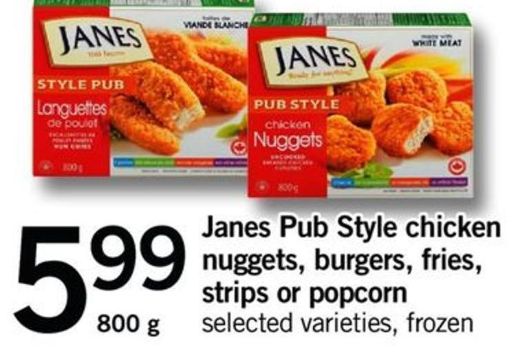 Janes Pub Style Chicken Nuggets - Burgers - Fries - Strips Or Popcorn - 800 G