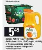 Danone Activia Yogurt - 12x100 G - Danactive - 8x93 Ml - IOGO Yogurt - 16x100 Gor Tropicana Orange Juice - 2.63 L
