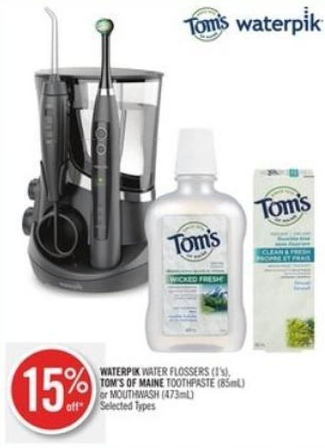 Waterpik Water Flossers (1's) - Tom's Of Maine Toothpaste (85ml) or Mouthwash (473ml)