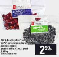 PC Adora Seedless Black Grapes Or PC Extra Large Red Or Green Seedless Grapes
