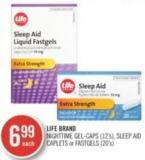 Life Brand Nighttime Gel-caps (12's) - Sleep Aid Caplets or Fastgels (20's)