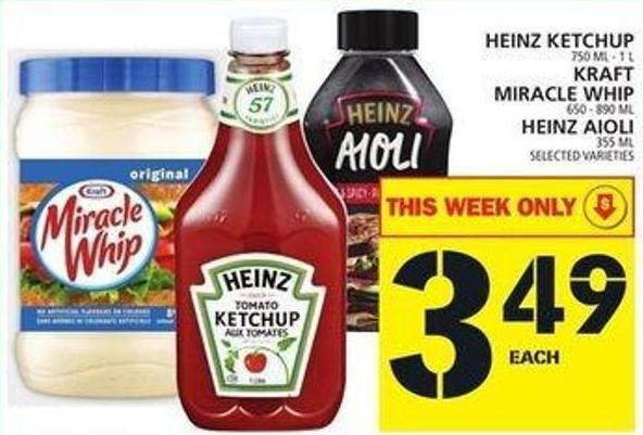 Heinz Ketchup Or Kraft Miracle Whip Or Heinz Aioli
