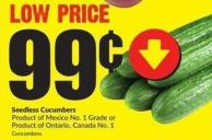 Seedless Cucumbers Product of Mexico No. 1 Grade or Product of Ontario Canada No. 1