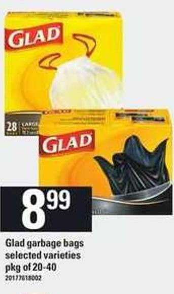 Glad Garbage Bags - Pkg Of 20-40