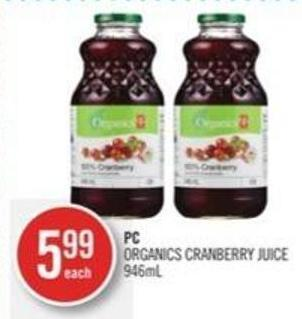 PC Organics Cranberry Juice 946ml