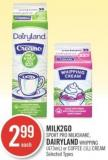 Milk2go Sport Pro Milkshake - Dairyland Whipping (473ml) or Coffee (1l) Cream