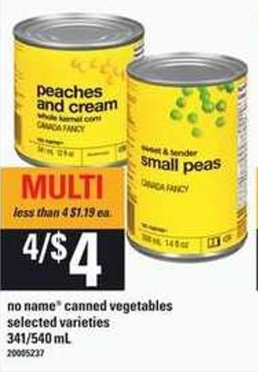 No Name Canned Vegetables - 341/540 mL