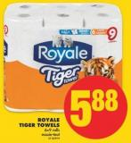 Royale Tiger Towels 6=9 Rolls