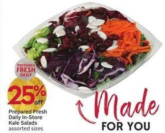 Prepared Fresh Daily In-store Kale Salads Assorted Sizes