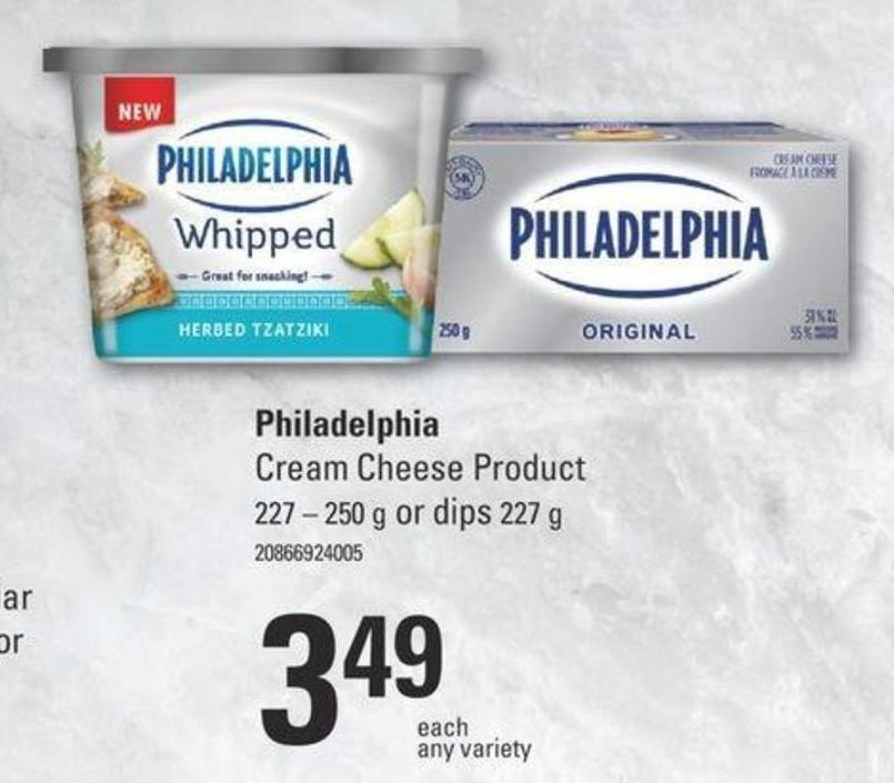 Philadelphia Cream Cheese Product - 227/250 G Or Dips - 227 G