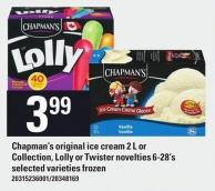 Chapman's Original Ice Cream 2 L Or Collection - Lolly Or Twister Novelties 6-28's