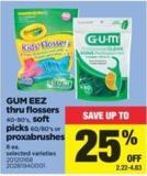 GUM Eez Thru Flossers - 40-90's - Soft Picks 60/80's Or Proxabrushes 8 Ea