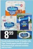 Royale Bathroom Tissue - 12 Double Rolls - Tiger Towels Paper Towels - 6 Rolls Or Facial Tissue - 6 Pk