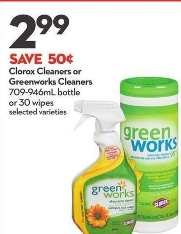 Clorox Cleaners or Greenworks Cleaners