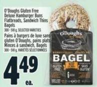 O'doughs Gluten Free Deluxe Hamburger Buns Flatbreads - Sandwich Thins Bagels 300 - 510 g