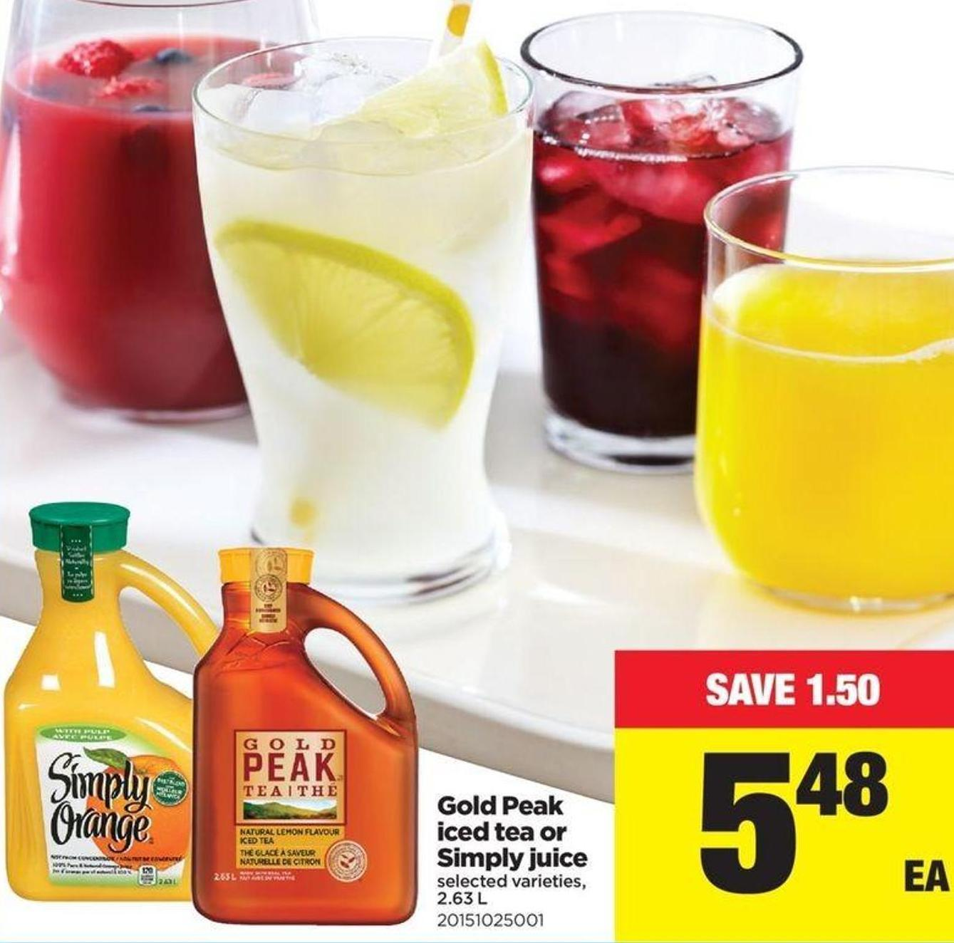 Gold Peak Iced Tea Or Simply Juice - 2.63 L