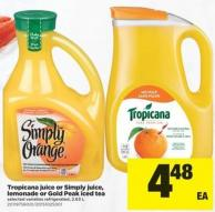Tropicana Juice Or Simply Juice - Lemonade Or Gold Peak Iced Tea - 2.63 L