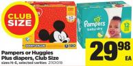 Pampers Or Huggies Plus Diapers - Club Size - Sizes N-6