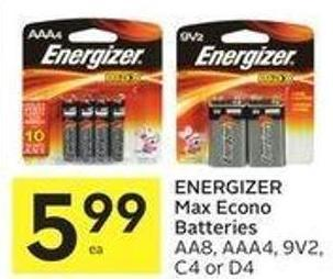 Energizer Max Econo Batteries Aa8 - Aaa4 - 9v2 - C4 or D4
