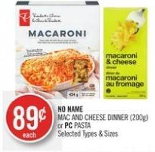 No Name Mac And Cheese Dinner (200g) or PC Pasta
