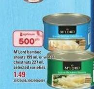 M'LORD Bamboo Shoots - 199 Ml Or Water Chestnuts - 227 Ml