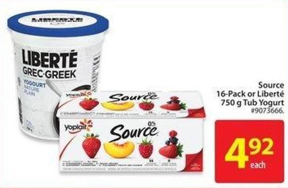 Source 16-pack or Liberté 750 g Tub Yogurt