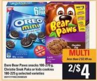 Dare Bear Paws Snacks - 100-270 g - Christie Snak Paks Or Kids Cookies - 180-225 g