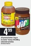 Jif Peanut Butter 1 Kg Or No Name Honey 375/500 G