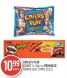 Child's Play Candy (1.3kg) or Pringles Snack Size Chips (32's)